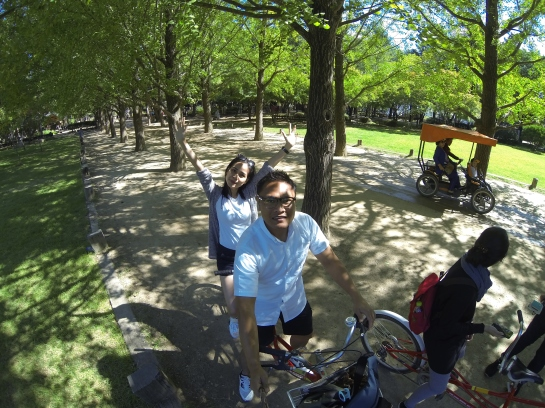 Riding tandem Bike at Nami Island